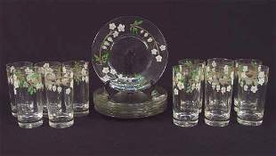 18 HAND PAINTED GLASS ITEMS. Includes: 11 tall gl