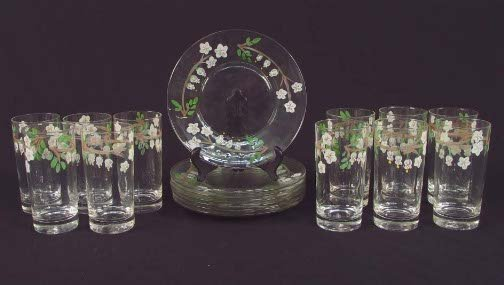 1020: 18 HAND PAINTED GLASS ITEMS. Includes: 11 tall gl