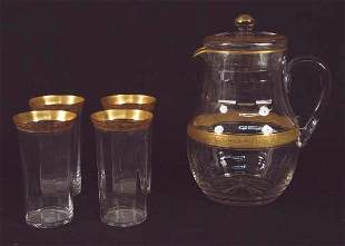 LEMONADE SET. Clear glass pitcher with lid, bands