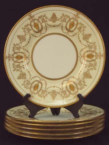 1182: 6 MINTON DINNER PLATES. Six dinner plates, white
