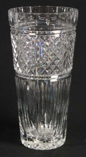 1571: TALL CUT GLASS VASE. Cut glass crystal vase, notc