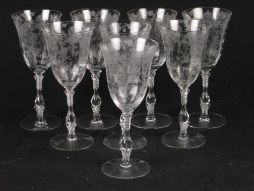 1579: 8 ROSEPOINT WATER GOBLETS. Clear depression glass