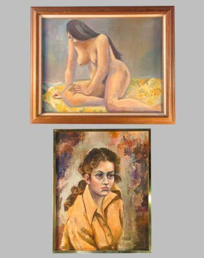 1585: PAIR OF MODEL PAINTINGS.  1970's.  Oil on canvas.