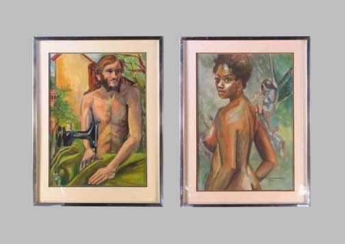 1586: ADAM AND EVE WATERCOLORS.  Both dated 1974 (April