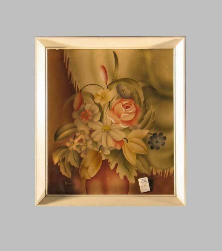 1587: SIGNED ROBERTS AIRBRUSHED FLORAL.  Undated, mid 2