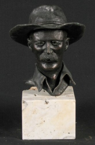 1589: FRITZ KACK COWBOY BUST.  Dated 78 (1978).  Bronze