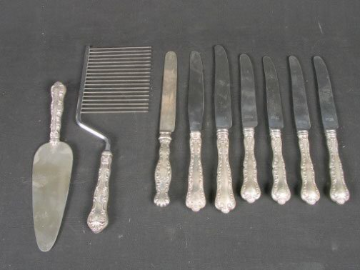 1592: 9 STERLING FLATWARE PCS. (6) Birks Louis XV sterl