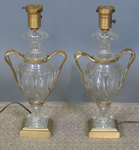 PR. CRYSTAL & METAL LAMPS. Pair of table lamps, u