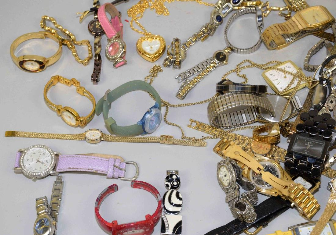 BIN OF ASSORTED LADIES AND MENS WATCHES. - 5