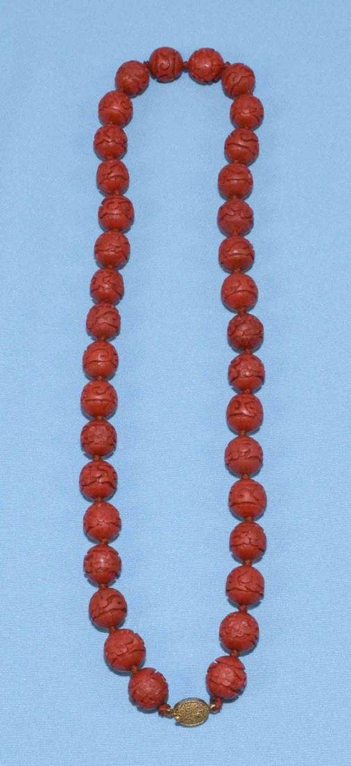 ANTIQUE CINNABAR BEADED NECKLACE w/gold tone filigree