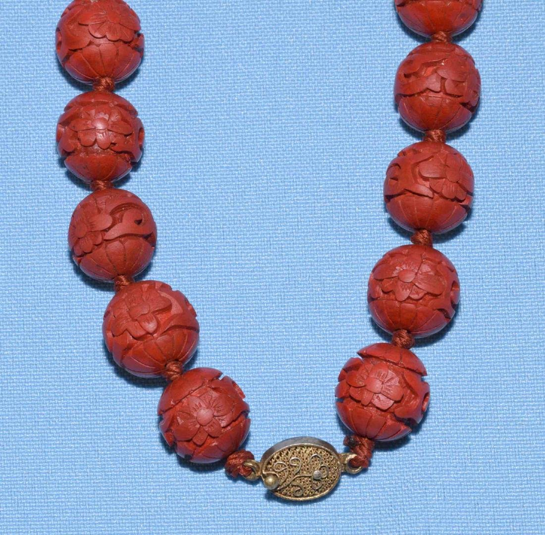 ANTIQUE CINNABAR BEADED NECKLACE w/gold tone filigree - 2
