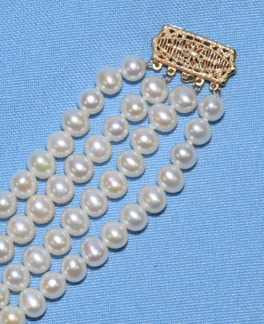14K GOLD AND PEARL MULTISTRAND NECKLACE, w/gold - 2