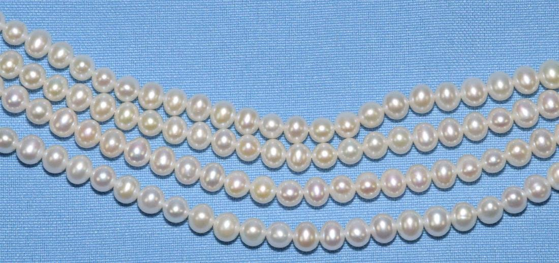 14K GOLD AND PEARL MULTISTRAND NECKLACE, w/gold - 3