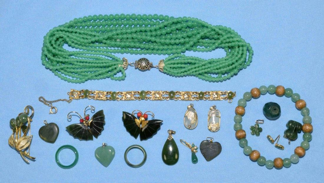 OVER 15 PCS. OF ASSORTED JADE JEWELRY. Includes multi