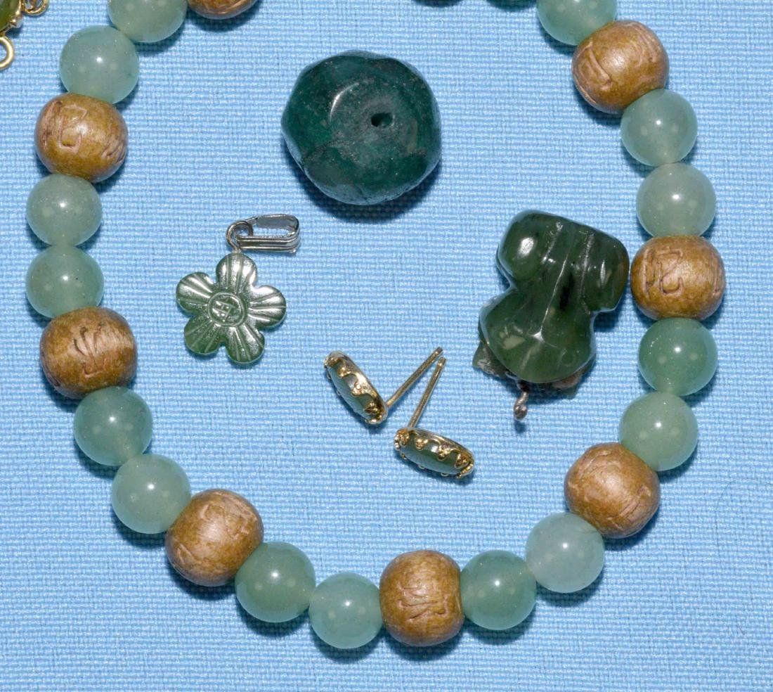 OVER 15 PCS. OF ASSORTED JADE JEWELRY. Includes multi - 3