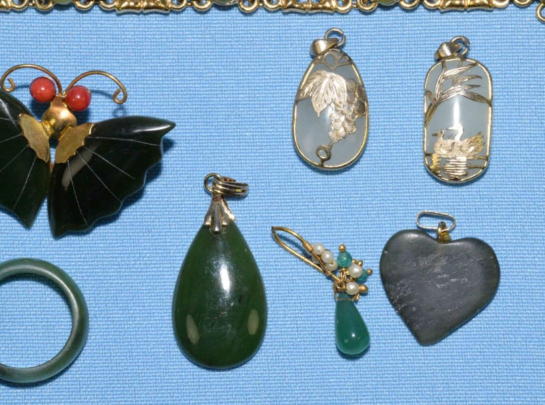 OVER 15 PCS. OF ASSORTED JADE JEWELRY. Includes multi - 4