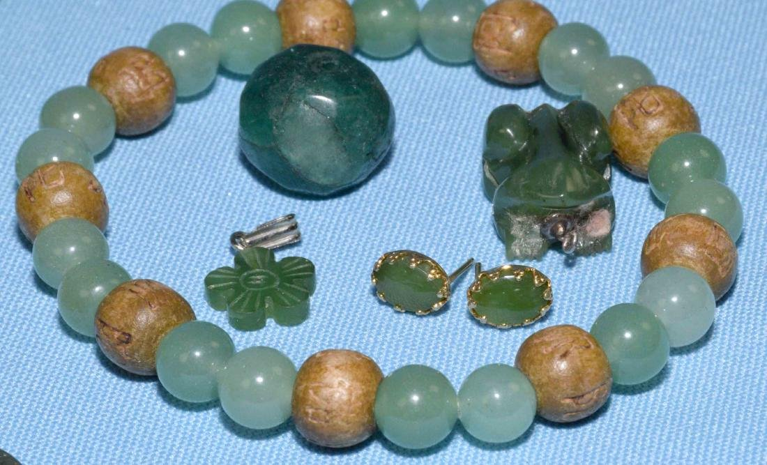 OVER 15 PCS. OF ASSORTED JADE JEWELRY. Includes multi - 8