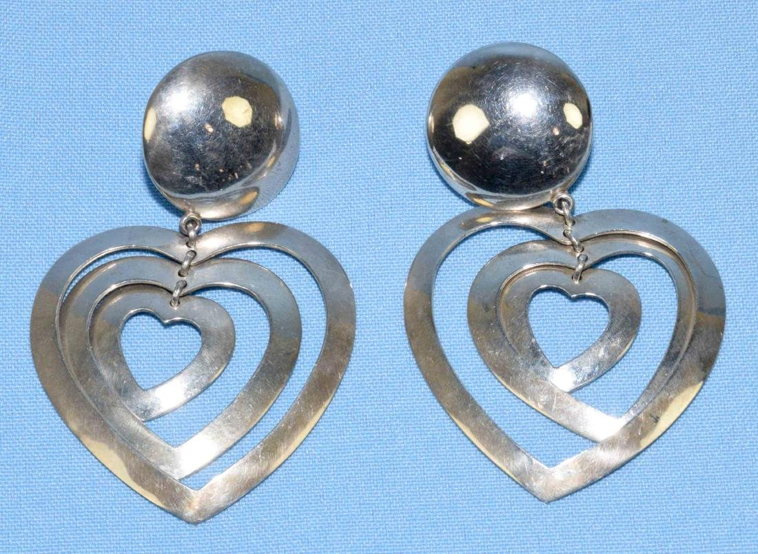 PAIR OF MEXICAN STERLING HEART CLIP EARRINGS, signed by