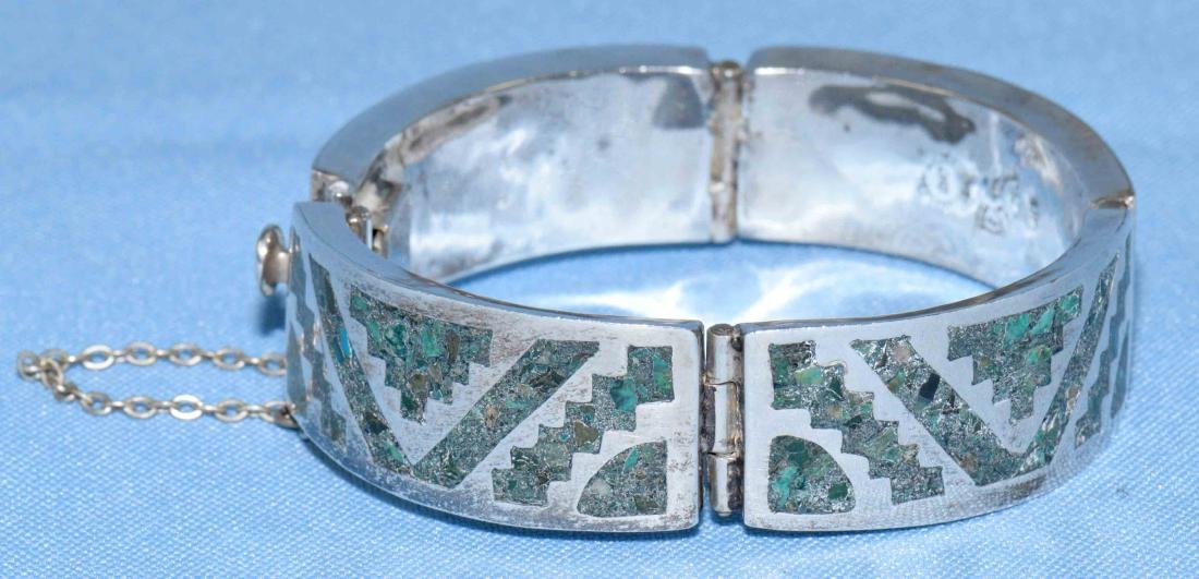 MEXICAN STERLING AND INLAID GREEN TURQUOISE SIGNED
