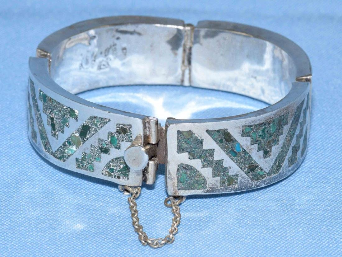 MEXICAN STERLING AND INLAID GREEN TURQUOISE SIGNED - 3