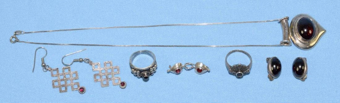 (6) MISC. STERLING AND GARNET JEWELRY LOT, all marked