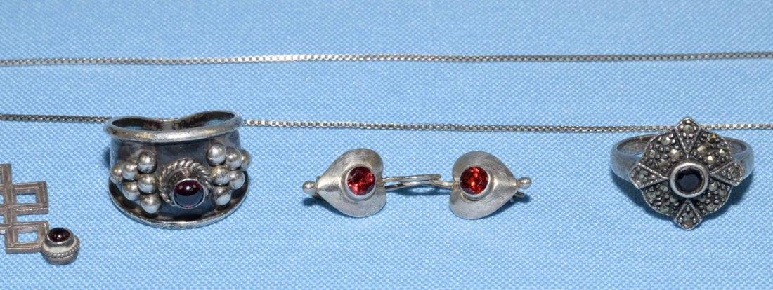 (6) MISC. STERLING AND GARNET JEWELRY LOT, all marked - 3