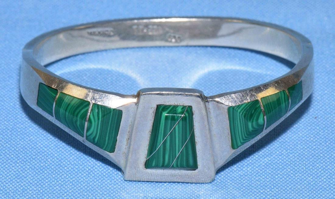 SIGNED MEXICO STERLING AND MALACHITE BRACELET.
