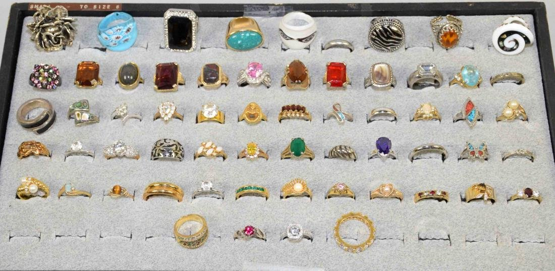 OVER 35 MISCELLANEOUS COCKTAIL RINGS, ALL DIFFERENT
