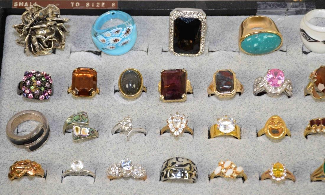 OVER 35 MISCELLANEOUS COCKTAIL RINGS, ALL DIFFERENT - 2