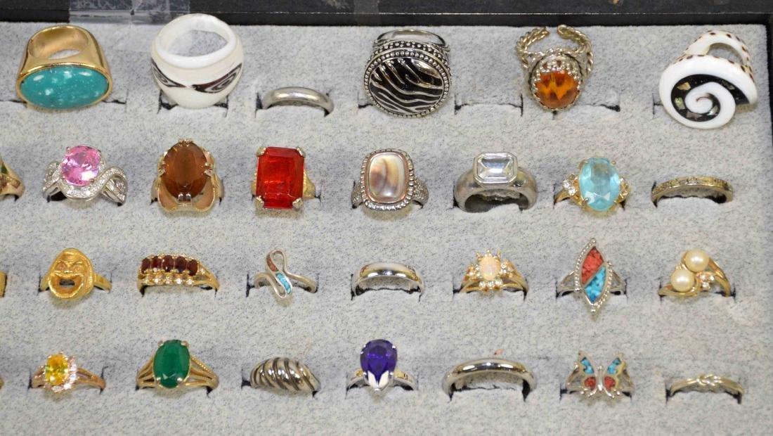OVER 35 MISCELLANEOUS COCKTAIL RINGS, ALL DIFFERENT - 3