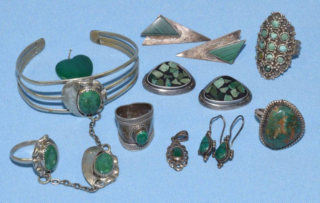 (9) ASSORTED SILVER, MALACHITE AND GREEN TURQUOISE