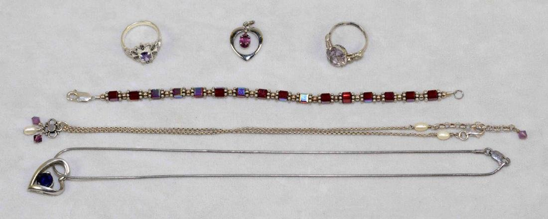 (6) ASST. STERLING AND AMETHYST LADIES JEWELRY LOT.