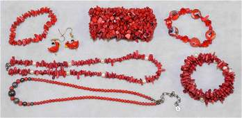 7 PC RED CORAL PEARL AND CRYSTAL BEADED COSTUME