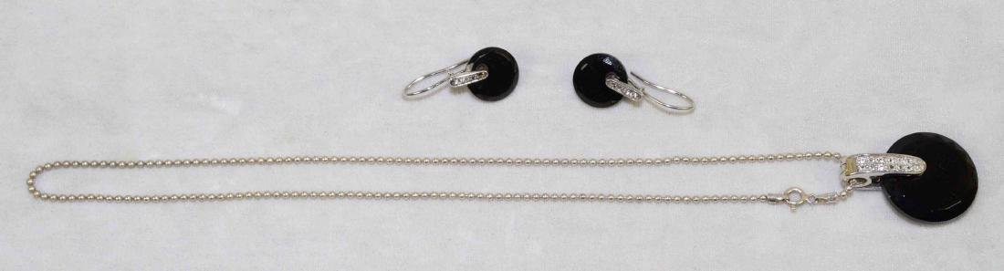 ART DECO STERLING AND ONYX (2 PC.) SET: necklace