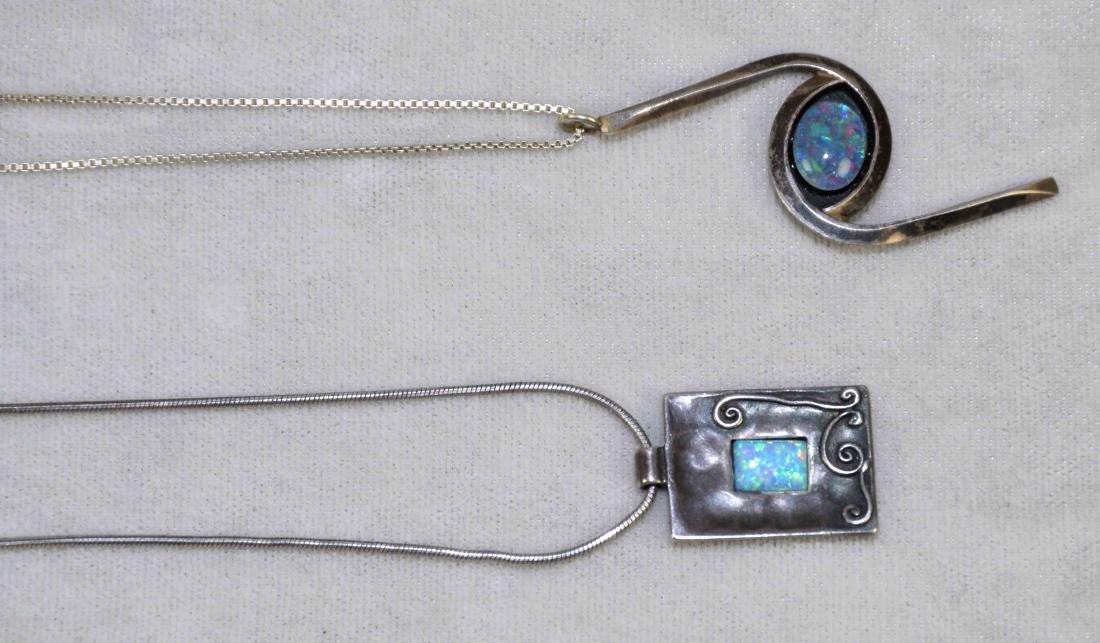 (2) STERLING AND OPAL PENDANT NECKLACES W/CHAIN. 925 - 2