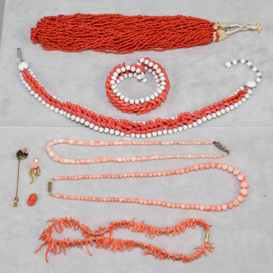 (9) PCS. OF ASST. CORAL JEWELRY. Includes: beaded