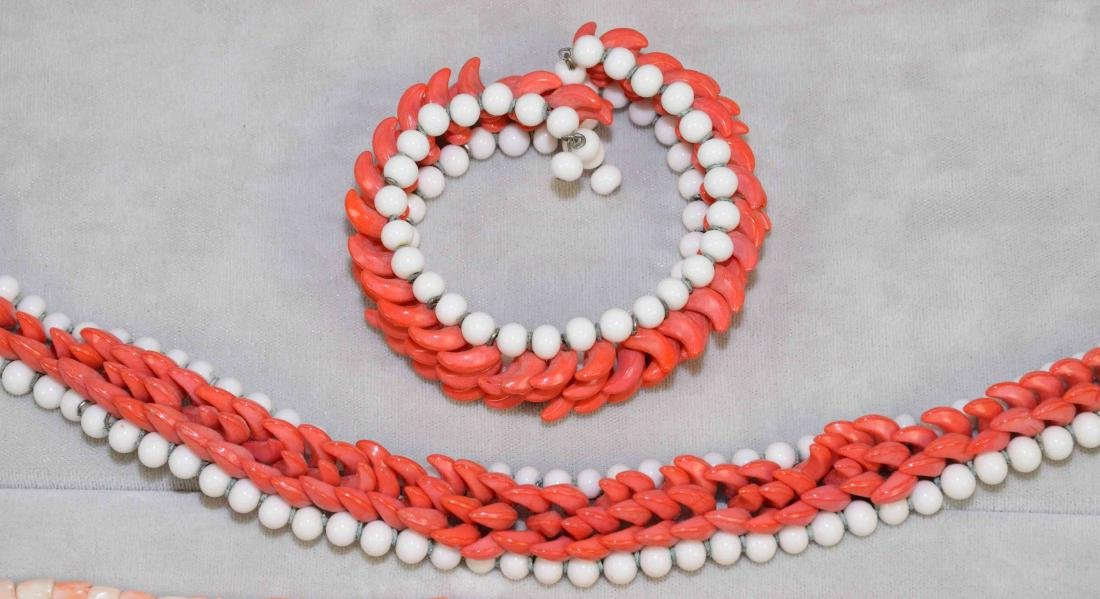 (9) PCS. OF ASST. CORAL JEWELRY. Includes: beaded - 3