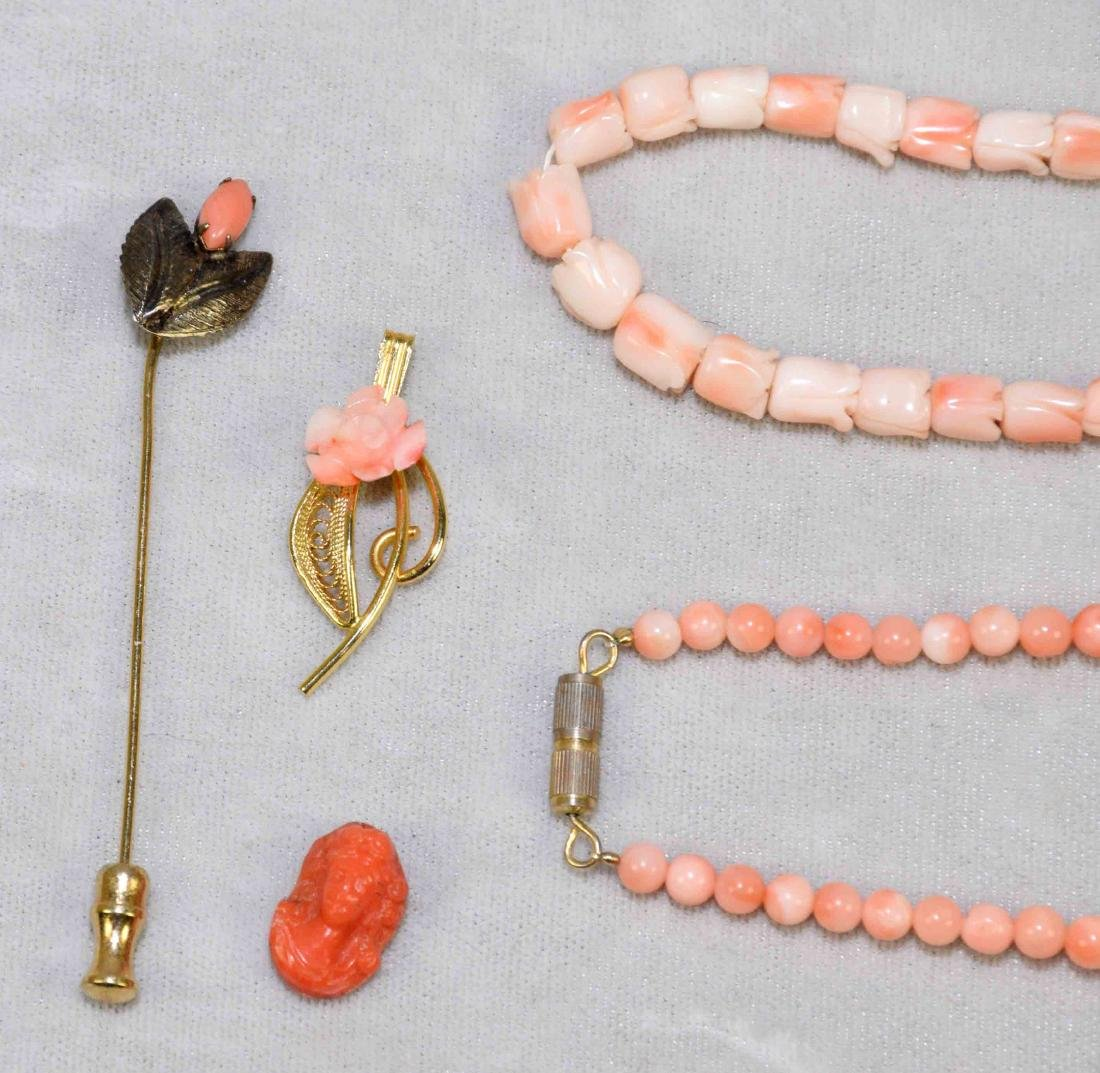 (9) PCS. OF ASST. CORAL JEWELRY. Includes: beaded - 6