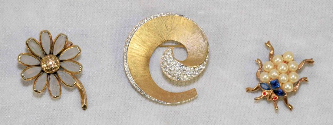 (3) ASST. CROWN TRIFARI PINS IN GOLD TONE w/crystal