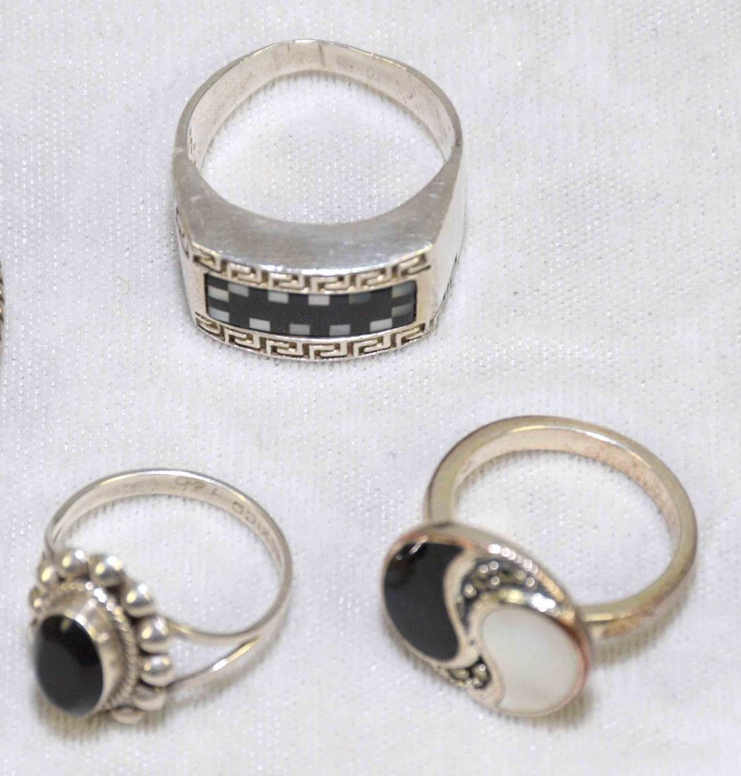 (7) PCS. STERLING, ONYX AND MOTHER OF PEARL JEWELRY. - 4