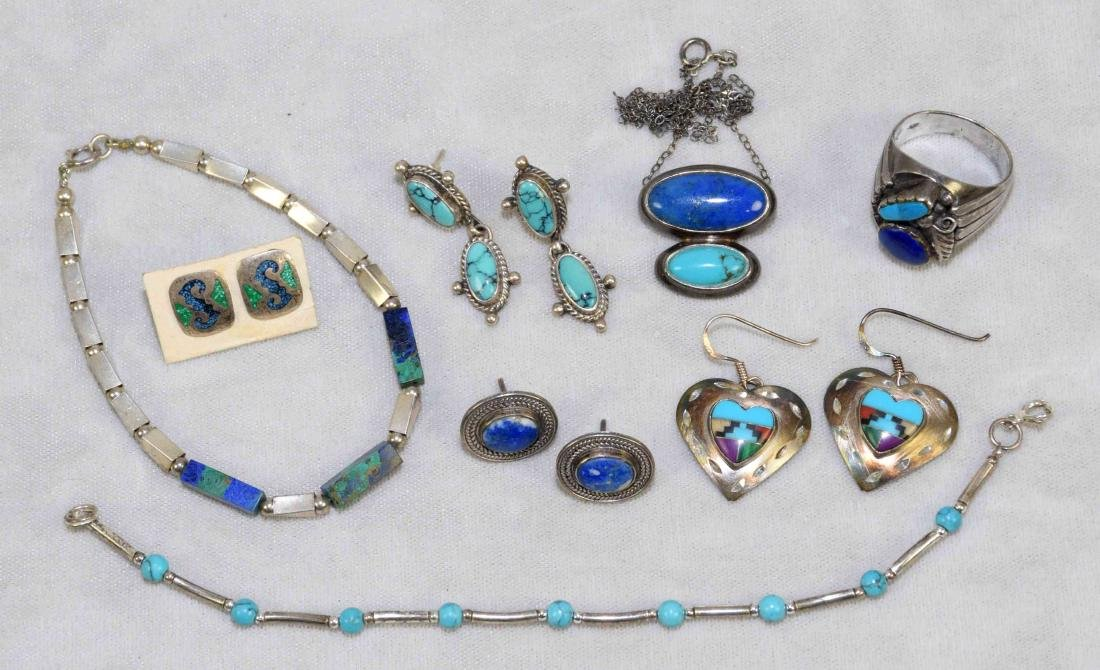(8) PCS. ASST. STERLING, LAPIS AND TURQUOISE JEWELRY.