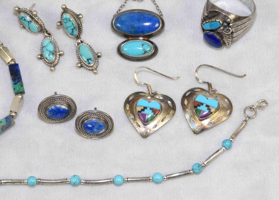 (8) PCS. ASST. STERLING, LAPIS AND TURQUOISE JEWELRY. - 2
