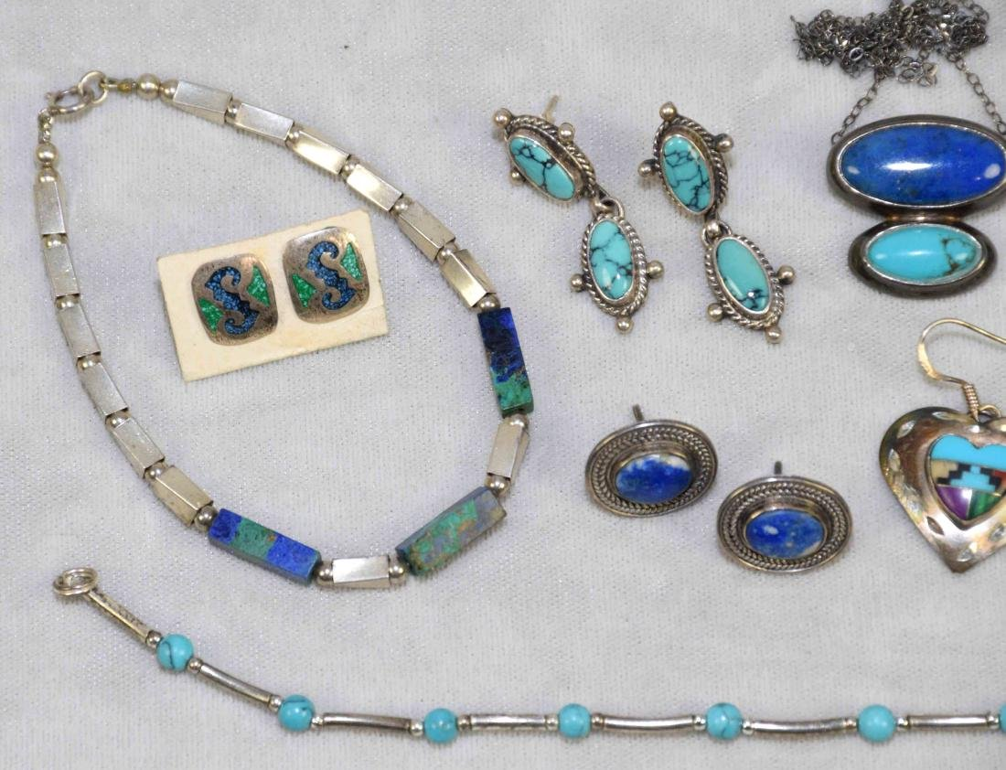 (8) PCS. ASST. STERLING, LAPIS AND TURQUOISE JEWELRY. - 3