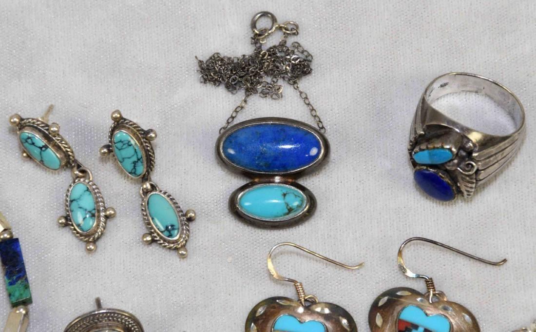 (8) PCS. ASST. STERLING, LAPIS AND TURQUOISE JEWELRY. - 4