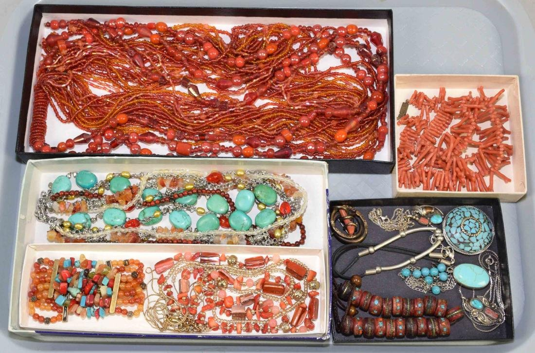 (10) PCS. ASST. CORAL, TURQUOISE, CRYSTAL AND OTHER
