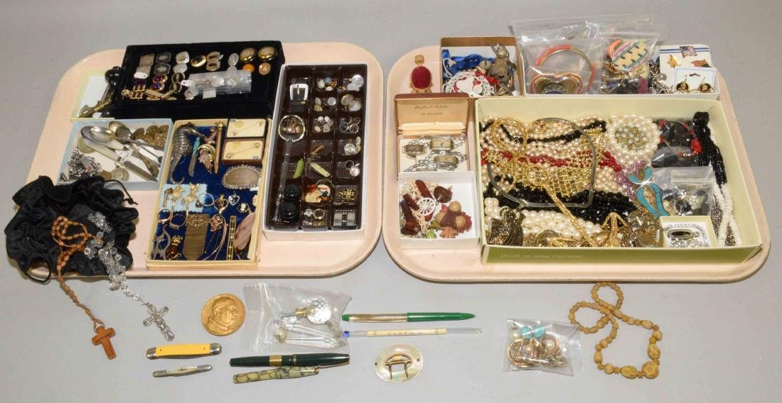 (2) TRAYS OF ASST. LADIES AND MENS COSTUME JEWELRY AND