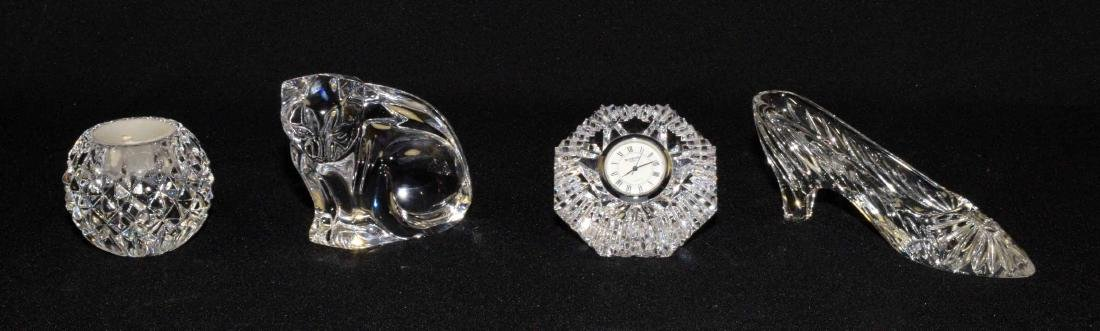 (4) WATERFORD CRYSTAL PIECES: slipper, diamond clock,