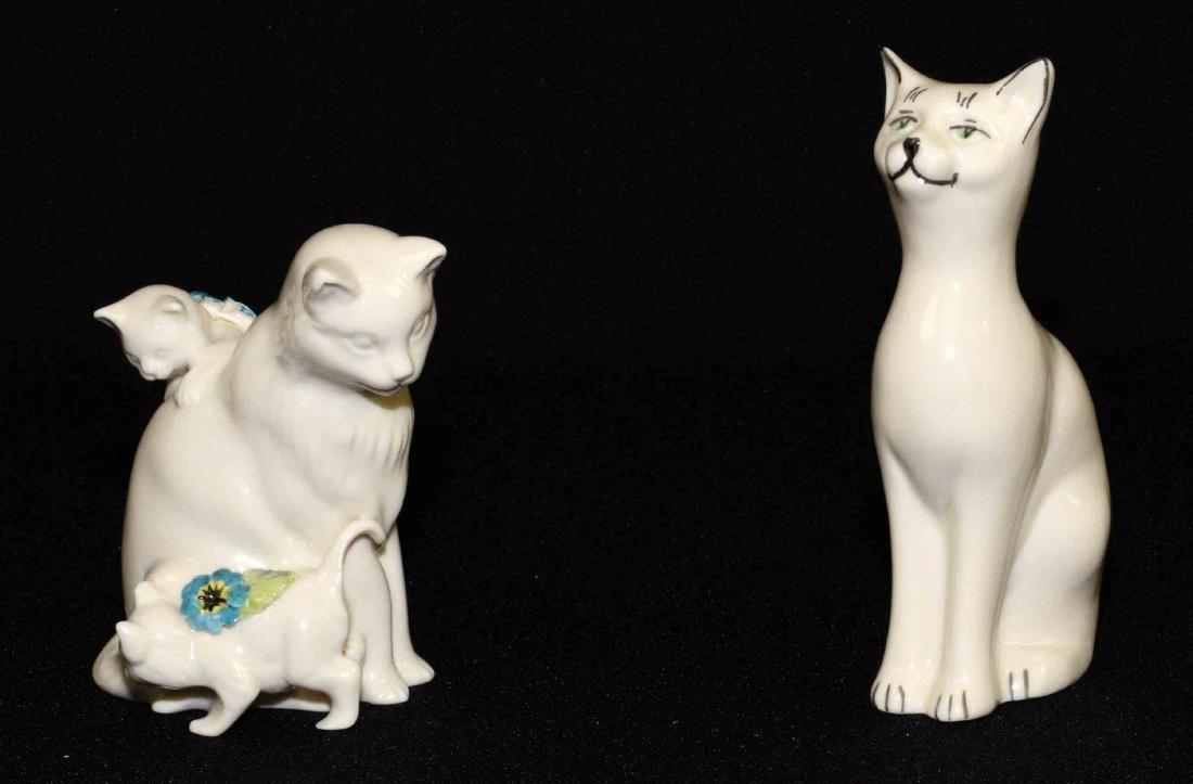 (2) BELLEEK 1999 PARIAN CHINA CAT FIGURINES: Floral