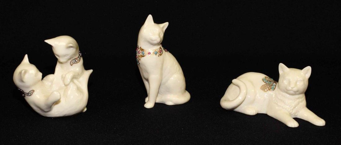 (3) LENOX CHINA JEWELS CAT FIGURINES: Reclining cat,