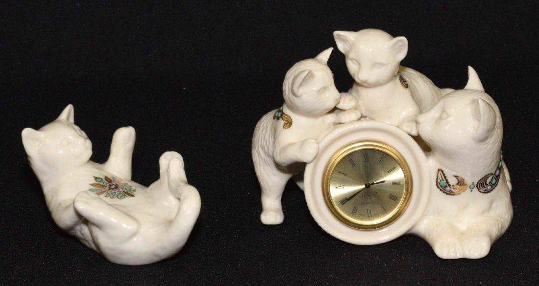 (2) LENOX CHINA JEWELS CAT FIGURINES: Cat quartz clock